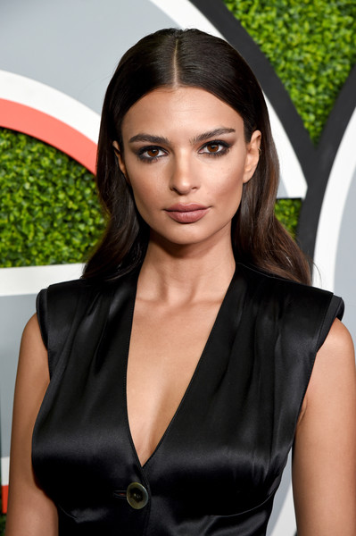 Emily Ratajkowski Long Wavy Cut [photo,hair,clothing,hairstyle,beauty,black hair,fashion,lip,dress,little black dress,long hair,arrivals,emily ratajkowski,caption,chateau marmont,california,los angeles,gq men of the year party,party,gq men of the year]