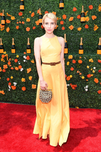 Emma Roberts Maxi Dress [flooring,carpet,red carpet,dress,lady,gown,shoulder,fashion,flower,fashion model,red carpet arrivals,emma roberts,eighth,jersey city,new jersey,liberty state park,veuve clicquot polo classic]