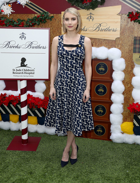 Emma Roberts Print Dress [clothing,dress,red,pattern,fashion,carpet,footwear,retro style,design,brooks brothers hosts annual holiday celebration,benefit st. jude,los angeles,beverly wilshire four seasons hotel,beverly hills,california,brooks brothers host annual holiday celebration,emma roberts,los angeles to benefit st. jude - arrivals]
