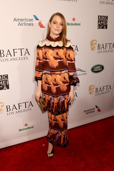 Emma Stone Print Dress [red carpet,clothing,carpet,hairstyle,fashion,flooring,premiere,shoulder,joint,footwear,arrivals,emma stone,los angeles,four seasons hotel,california,beverly hills,bafta,tea party]