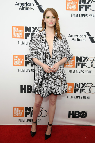 Emma Stone Pumps [the favourite,clothing,dress,premiere,hairstyle,carpet,red carpet,fashion,magazine,fashion model,footwear,arrivals,emma stone,lincoln center,new york city,alice tully hall,new york film festival,premiere,opening night premiere]