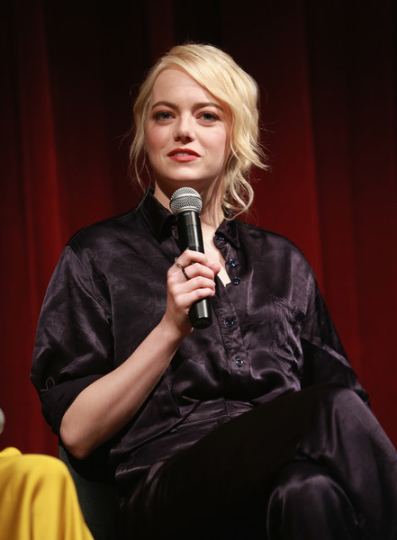 Emma Stone Button Down Shirt [official academy screening of the battle of the sexes,singer,singing,blond,microphone,performance,speech,public speaking,performing arts,sitting,talent show,emma stone,moma,new york city,academy of motion picture arts sciences,the academy of motion picture arts sciences]