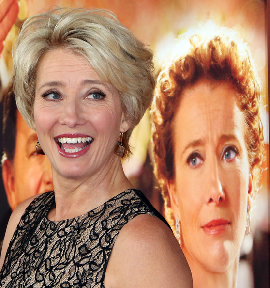 Emma Thompson Layered Razor Cut [saving mr. banks,hair,face,facial expression,blond,eyebrow,hairstyle,skin,beauty,smile,head,arrivals,emma thompson,california,burbank,disney,walt disney studios,premiere]