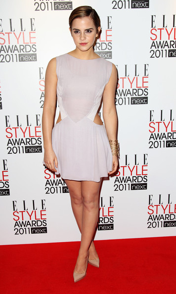 Emma Watson Platform Pumps [clothing,dress,fashion model,cocktail dress,shoulder,premiere,carpet,joint,red carpet,leg,arrivals,emma watson,elle style awards,uk,england,london,the grand connaught rooms,tabloid newspapers]