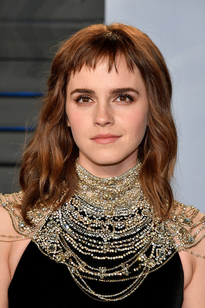Emma Watson Medium Wavy Cut with Bangs