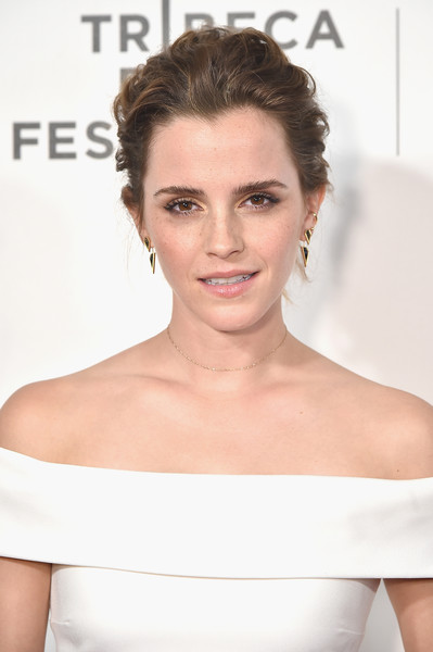 Emma Watson Messy Updo [the circle premiere,hair,skin,beauty,eyebrow,hairstyle,human hair color,chin,shoulder,neck,eyelash,emma watson,new york city,bmcc tribeca pac,tribeca film festival]