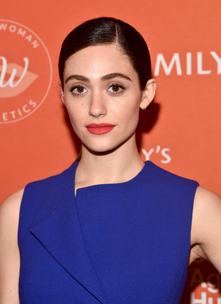 Emmy Rossum Red Lipstick [emilys list pre-oscars brunch and panel,hair,face,hairstyle,eyebrow,lip,beauty,shoulder,chin,electric blue,fashion,emmy rossum,los angeles,california,emilys list pre-oscars brunch and panel]