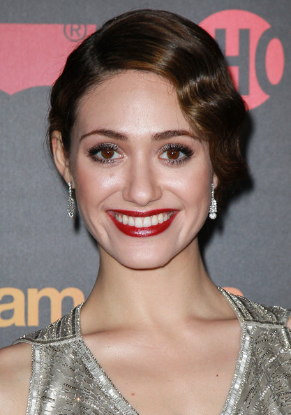 Emmy Rossum Retro Updo [shameless,season,hair,face,lip,eyebrow,hairstyle,chin,beauty,skin,forehead,nose,arrivals,emmy rossum,haus los angeles,california,premiere reception for showtime,premiere reception]