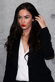 Megan Fox sports a super sparkly ring while out in Milan for the Emporio Armani spring/summer 2011 fashion show.