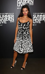 Bip Ling rocked a bold black-and-white patterned frock for her look at the Emporio Armani Summer Garden party.