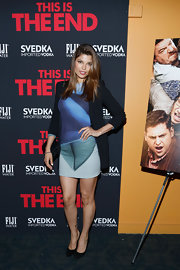 Analu Campos rocked a blue and green abstract print dress at the premiere of 'This is the End.'