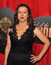 Jennifer Tilly swept on a bright tomato-red nail polish for the opening night of 'End of the Rainbow' on Broadway.