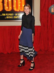 Dree Hemingway looked elegant and hip in this striped midi-skirt at the opening of 'End of the Rainbow.'