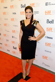 America looked phenom at the Toronto Film Festival in this gladiator-esque black cutout dress.