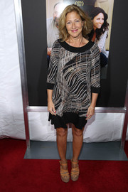 Edie Falco opted for a not-too-formal red carpet look with this loose print dress when she attended the New York screening of 'Enough Said.'