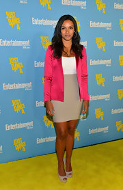 Jessica Lucas wore stunning nude peep-toe pumps to Entertainment Weekly's 6th Annual Comic-Con Celebration.