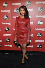 Kerry rocked this long-sleeve burnt red leather dress at the ABC Upfront Party in NYC.