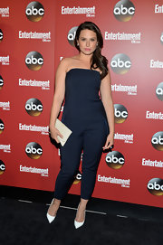 Katie Lowes rocked a strapless navy jumpsuit for a cool and chic look at the ABC Upfront Party in NYC.