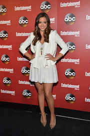 Chloe Bennet chose this draped gray frock to pair with a matching light gray blazer at the ABC Upfront Party in NYC.