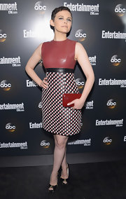 Ginnifer Goodwin sported this funky leather sheath dress to the ABC's VIP party.