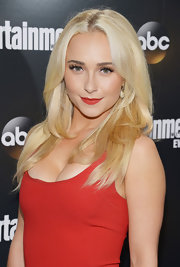 Hayden Panettiere arrived at the Upfront VIP party wearing her ultra-blond locks in long layers.