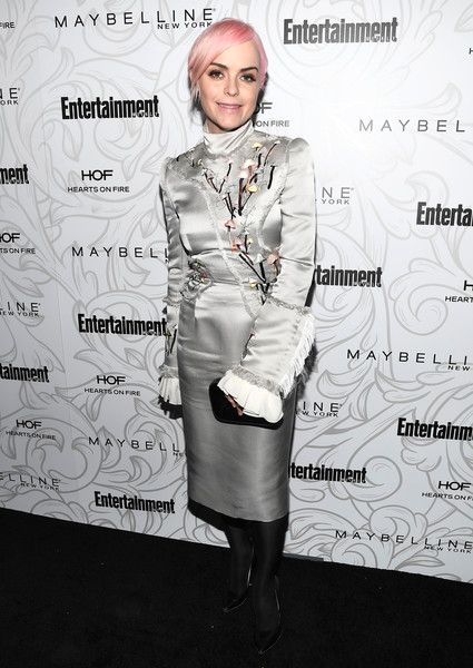 Taryn Manning looked flamboyant in a silver Giles Deacon dress with an embroidered bodice, fringed sleeves, and ruffle cuffs at the Entertainment Weekly SAG nominees celebration.