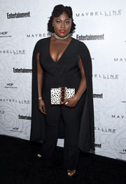 Danielle Brooks was superhero-glam in a caped black jumpsuit by Jovani at the Entertainment Weekly SAG nominees celebration.