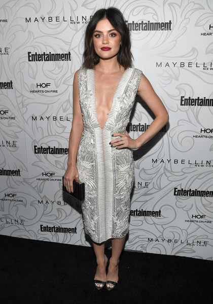 Lucy Hale took a daring turn in a Julien Macdonald embroidered dress with a down-to-the-navel neckline during the Entertainment Weekly SAG nominees celebration.