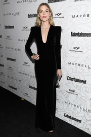Jaime King went for a timeless look with this black velvet column dress by Alex Perry at the Entertainment Weekly SAG nominees celebration.