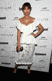 Jackie Cruz showed off her assets in a low-cut white off-the-shoulder top at the Entertainment Weekly SAG nominees celebration.