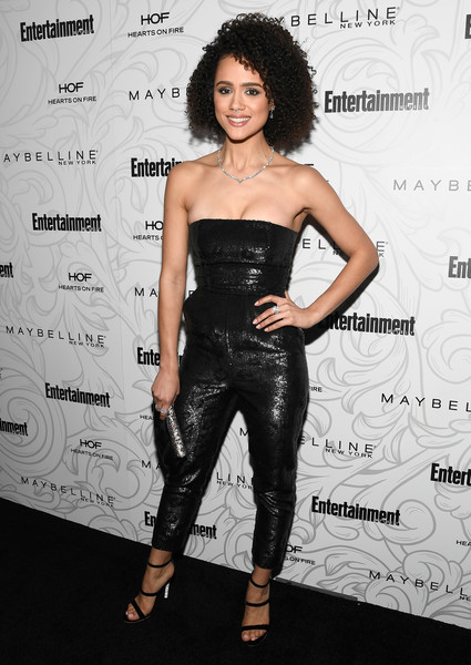 Nathalie Emmanuel looked simply fab in a strapless black sequin jumpsuit at the Entertainment Weekly SAG nominees celebration.