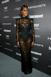 Laverne Cox brought major sex appeal to the Entertainment Weekly SAG nominees party in a sheer, embroidered black gown by Zhivago.