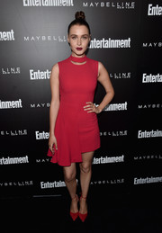Camilla Luddington rocked a red Versace mini dress with an asymmetrical skirt at the Entertainment Weekly celebration honoring the SAG nominees.