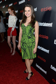 Katie Lowes donned a green and black print dress for the Entertainment Weekly SAG nominees celebration.