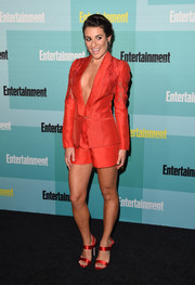 Lea Michele completed her red-hot look with a pair of strappy satin sandals.