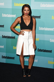 Kat Graham finished off her edgy-sultry look with black open-toe wedge boots by Balenciaga.