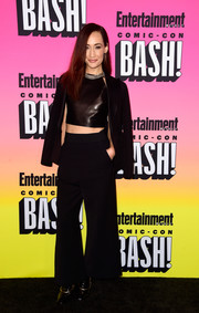 Maggie Q attended the Entertainment Weekly Comic-Con party looking funky in a black wide-leg pantsuit.