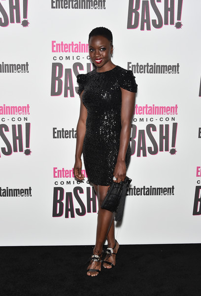 Danai Gurira complemented her dress with a pair of crystal-and-feather-embellished sandals by Roger Vivier.