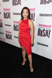 Ming-Na Wen styled her dress with silver platform sandals.
