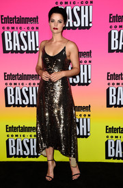 Jaimie Alexander brought plenty of sparkle to the Entertainment Weekly Comic-Con party with this gold sequin dress by Tracy Reese.