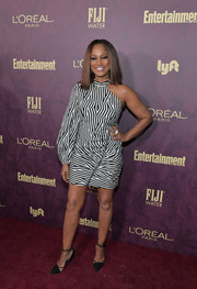 Garcelle Beauvais complemented her dress with black ankle-strap pumps.