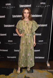 Kaitlyn Dever charmed in a green Luisa Beccaria jumpsuit with flutter sleeves and lavender floral embroidery at the Entertainment Weekly Must-List party.