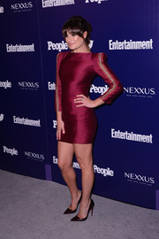 Lea Michele donned a bold-shouldered, metallic-detailed burgundy mini dress by Zuhair Murad for the Entertainment Weekly and People celebration of the New York Upfronts.