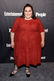 Chrissy Metz opted for a simple red midi dress when she attended the Entertainment Weekly and People New York Upfronts.
