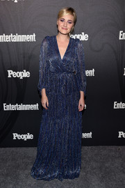Amanda Michalka cut a stylish figure in a blue maxi wrap dress at the Entertainment Weekly and People New York Upfronts.