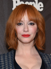 Christina Hendricks wore her hair in a bob with choppy bangs at the Entertainment Weekly and People New York Upfronts.