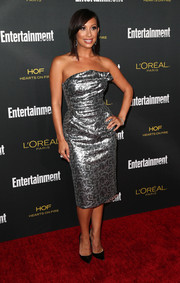 Cheryl Burke shone in a strapless silver jacquard frock during the Entertainment Weekly pre-Emmy party.