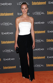 Yvonne Strahovski went for simple sophistication in a black-and-white strapless gown during the Entertainment Weekly pre-Emmy party.