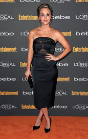 Kaley Cuoco looked saucy on the red carpet in a strapless lace-panel LBD during the Entertainment Weekly pre-Emmy party.
