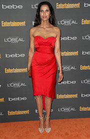 Padma Lakshmi steamed up the red carpet in a sexy and elegant strapless dress during the Entertainment Weekly pre-Emmy party.